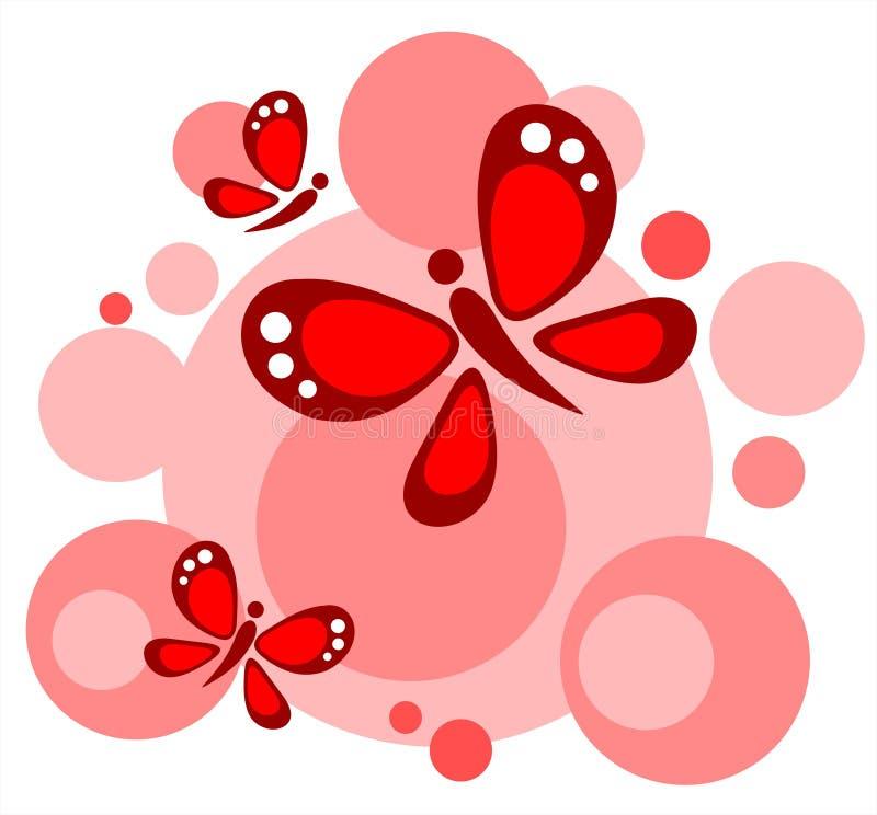 Círculos e borboletas ilustração royalty free
