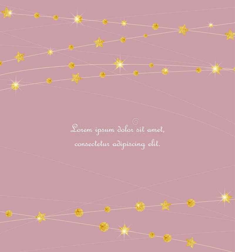 Círculos e estrelas dourados de cor ilustração royalty free