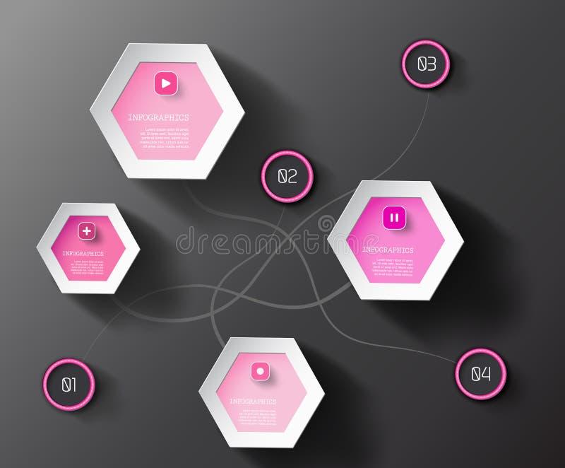 Círculos e hexágonos gráficos da informação ilustração stock