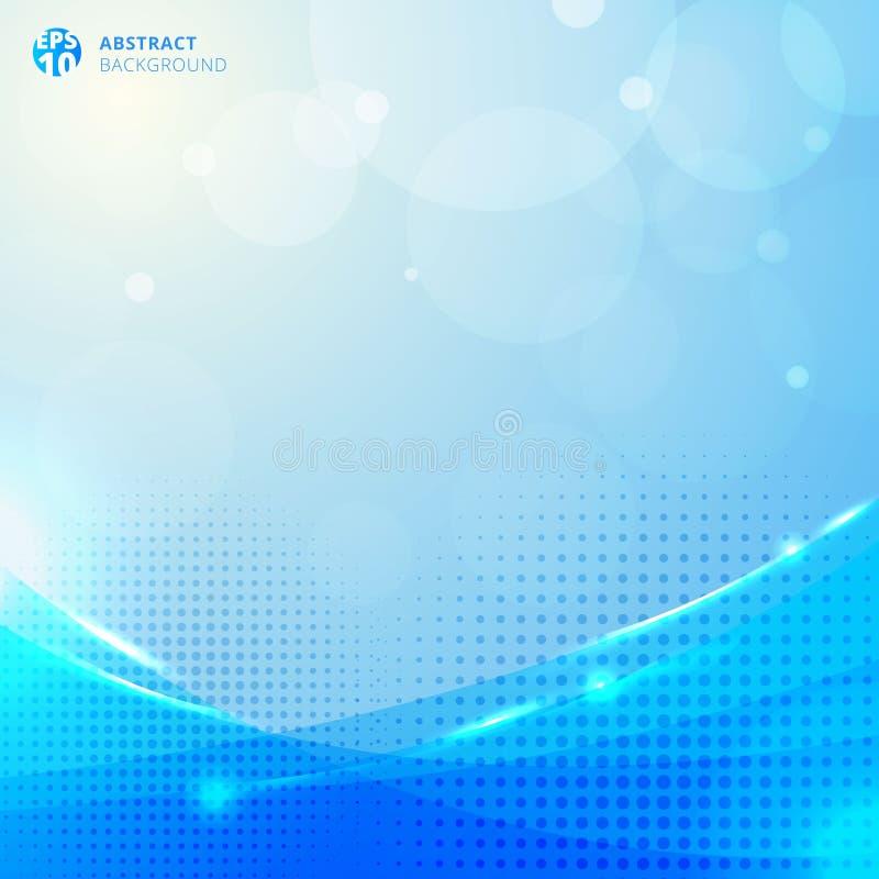 Círculos e reticulação com efeito da luz e bokeh abstratos no fundo azul ilustração royalty free