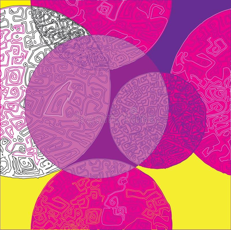 Círculos e teste padrão sem emenda do vetor dos labirintos ilustração stock