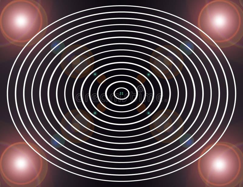Círculos en imagen abstracta blanco y negro/de Digitaces del fractal con un diseño circular en blanco y negro libre illustration