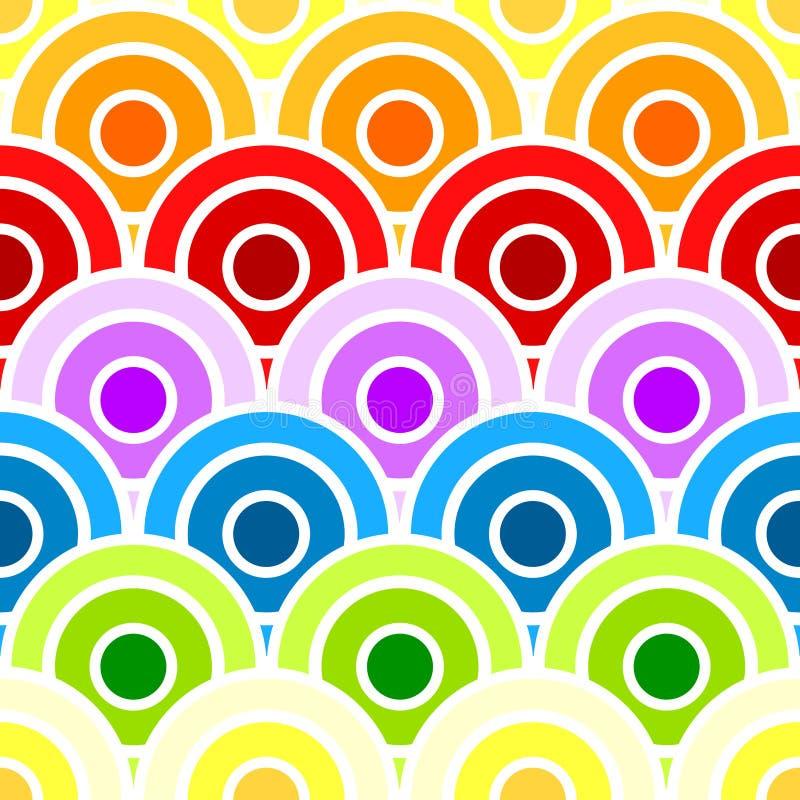 Círculos escalados arco iris inconsútil stock de ilustración