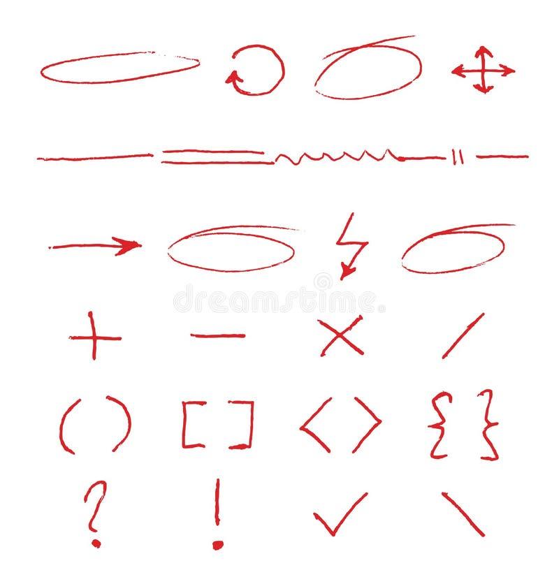Círculos, flechas y rayas manuscritos del vector del énfasis del marcador en el Libro Blanco libre illustration