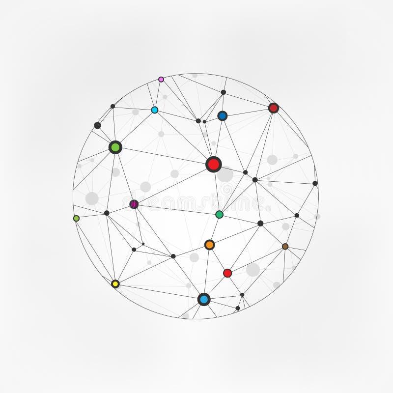 Círculos geométricos moleculars Esfera de conexão da terra de Wireframe Conceito da conexão do globo A estrutura do globo conecta ilustração royalty free