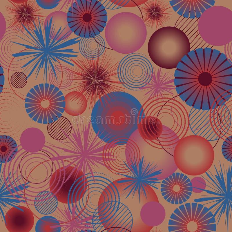 Círculos gráficos com estrelas e teste padrão sem emenda das espirais Ilustração geométrica do vetor fotos de stock