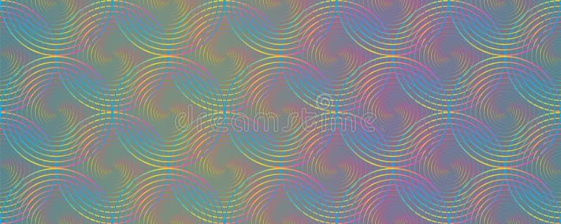 Círculos holográficos do arco-íris ilusão óptica padrão sem descontinuidades ilustração royalty free