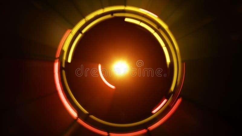 Círculos ligeros que brillan intensamente amarillos que giran el fondo futurista stock de ilustración