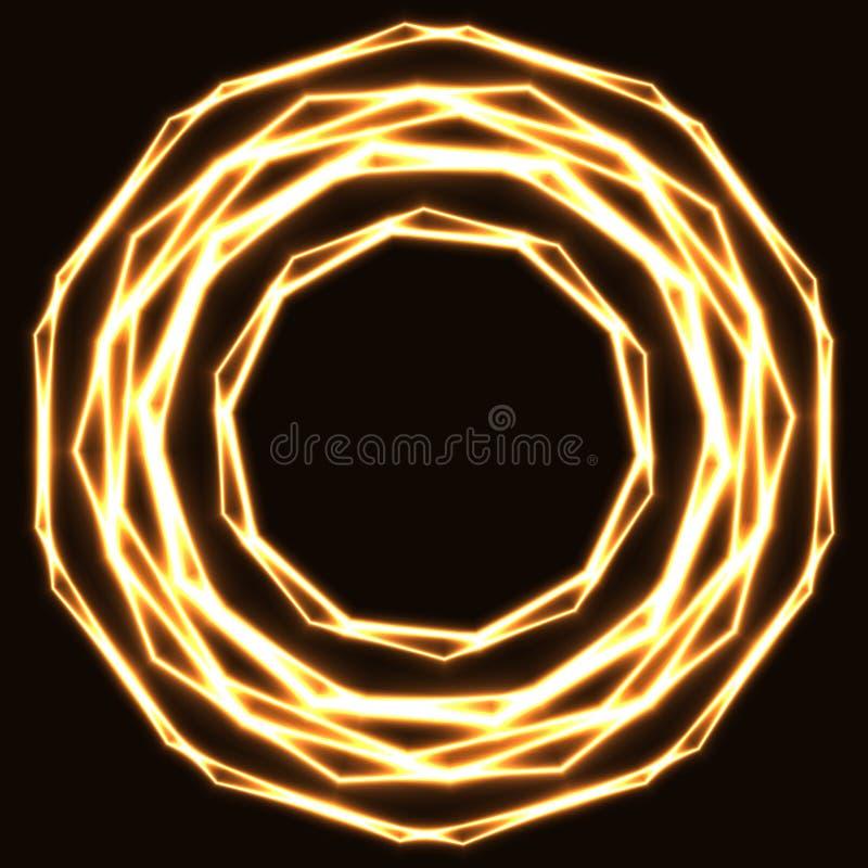 Círculos mágicos dourados Shinning do laser fotografia de stock royalty free