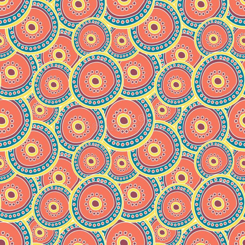 Círculos multicolores que acodan en uno a stock de ilustración