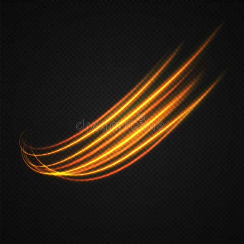 Círculos obscuros de néon no movimento ilustração stock