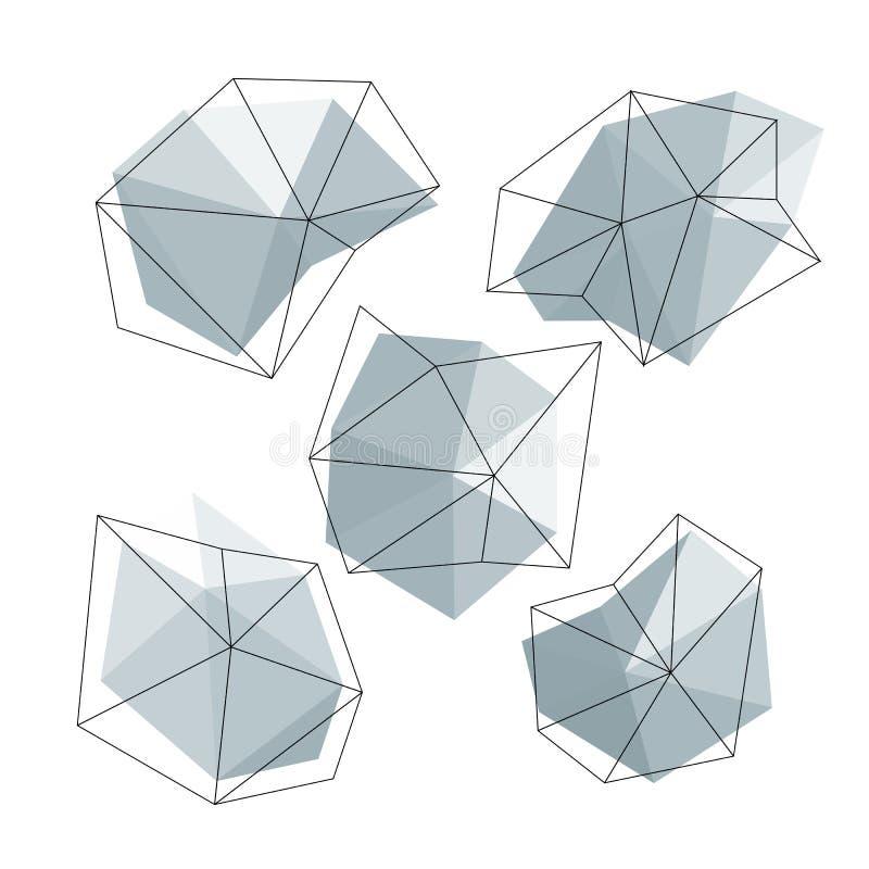 Círculos polivinílicos bajos del triángulo fijados Concepto abstracto de los iconos del negocio Ilustración del vector ilustración del vector