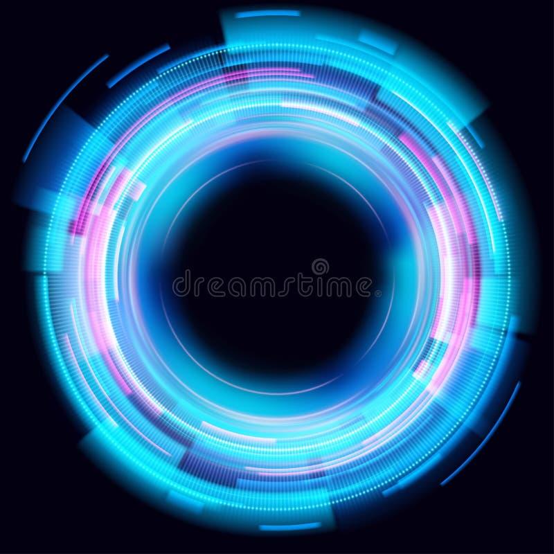 Círculos que brillan intensamente abstractos en fondo negro Efectos luminosos del c?rculo m?gico Ejemplo aislado en fondo oscuro stock de ilustración