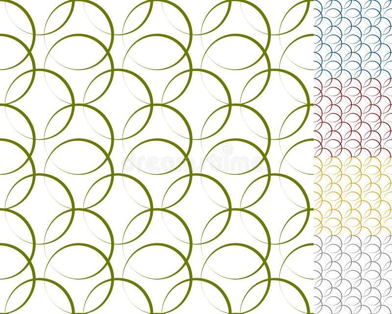 Círculos que entrelazan, anillos con el esquema dinámico - sistema de la costura 5 ilustración del vector