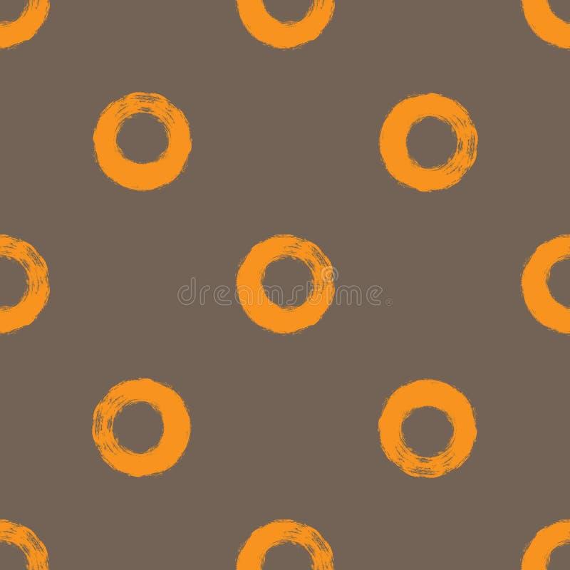 Círculos repetidos tirados uma escova áspera Teste padrão sem emenda simples ilustração do vetor