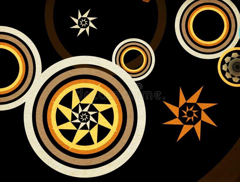 Círculos retros abstractos stock de ilustración