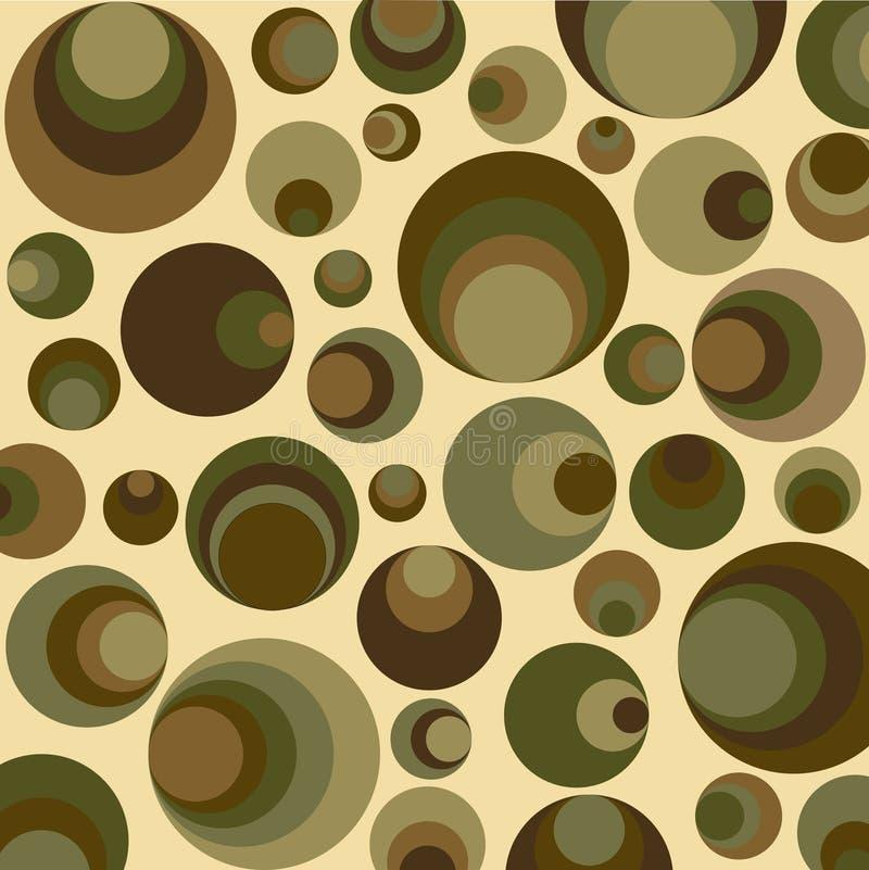 Círculos retros en verde stock de ilustración