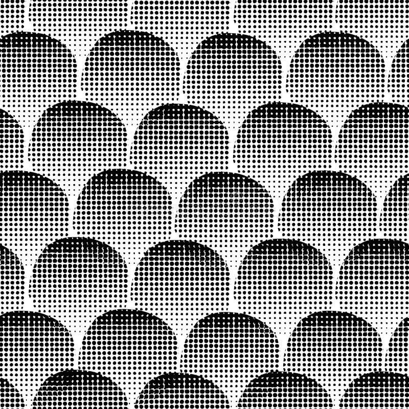 Círculos texturizados negros del fondo inconsútil monocromático del vector Puntos negros en el fondo blanco Geométrico abstracto libre illustration