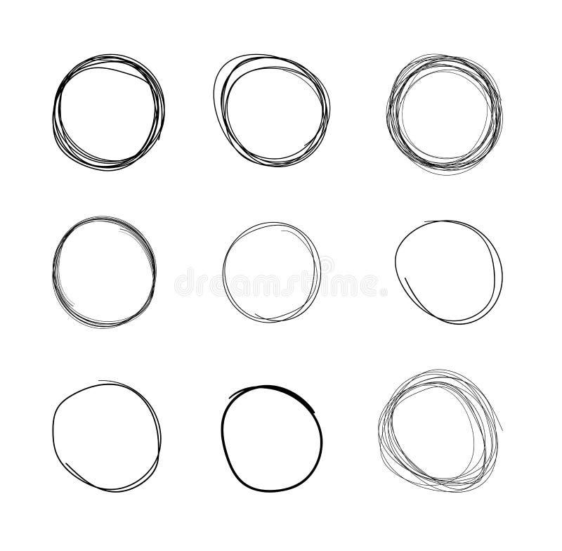 Círculos tirados mão do vetor, linha grupo do esboço isolado no fundo branco, garatujas circulares do garrancho, formas redondas ilustração do vetor