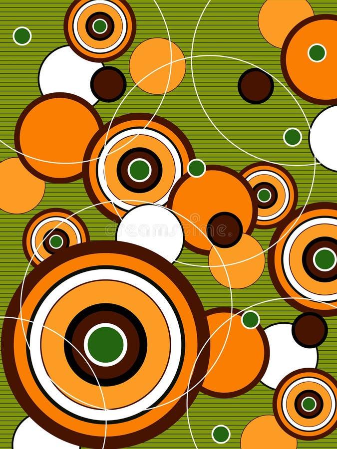 Círculos verdes alaranjados retros do PNF ilustração stock