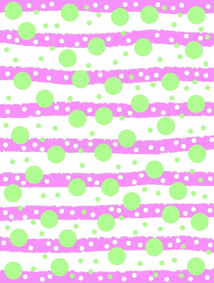 Círculos verdes e listras cor-de-rosa ilustração stock