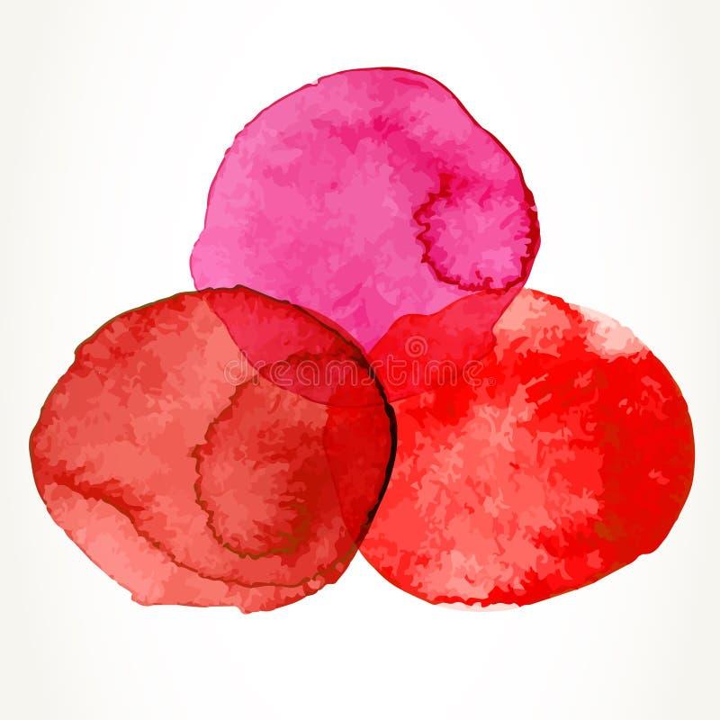 Círculos vermelhos da aquarela ilustração royalty free