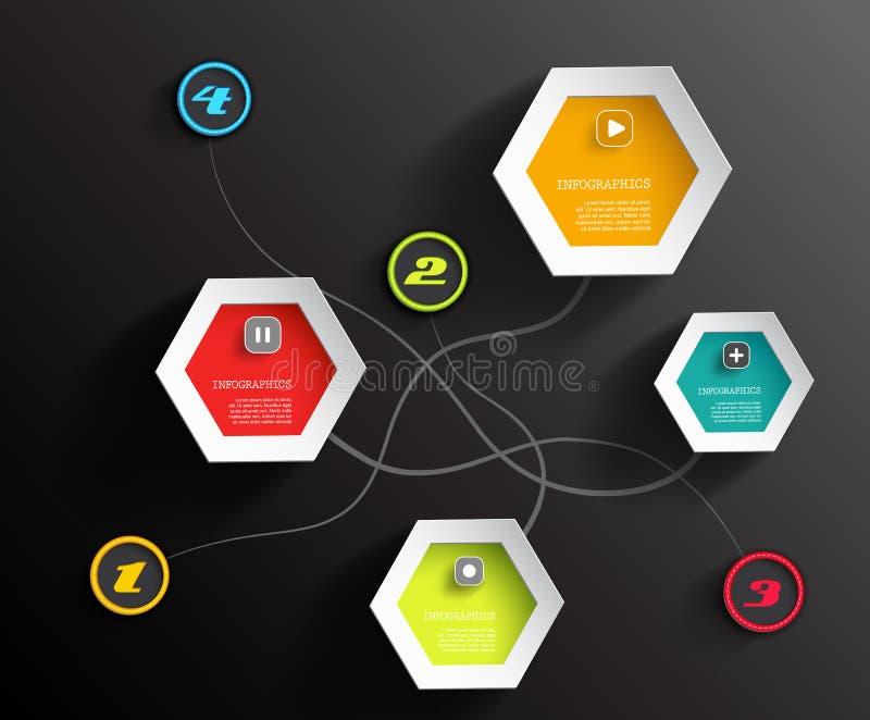 Círculos y hexágonos gráficos de la información ilustración del vector