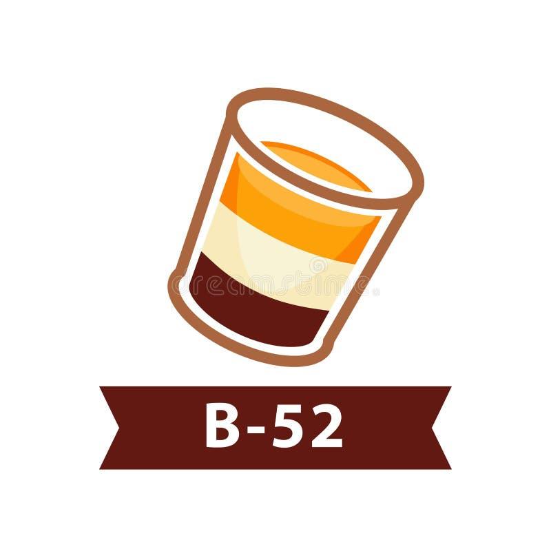 Cóctel acodado B-52 a partir de la bebida alcohólica de tres licores en blanco ilustración del vector