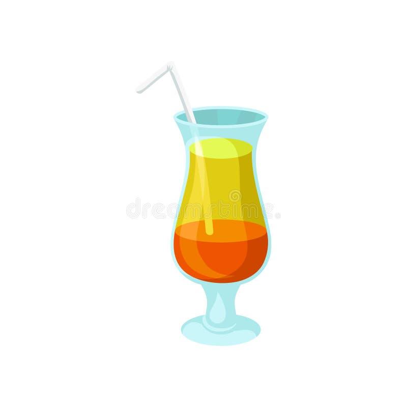 Cóctel alcohólico anaranjado y amarillo acodado con el ejemplo del vector de la historieta de la paja libre illustration