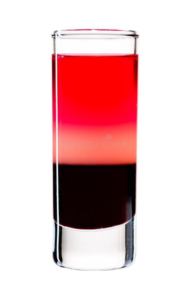Cóctel alcohólico clásico con los tiros, la vodka y el licor imágenes de archivo libres de regalías