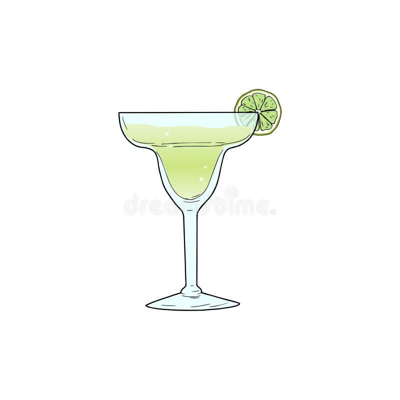 Cóctel alcohólico de Margarita en vidrio con la cal stock de ilustración
