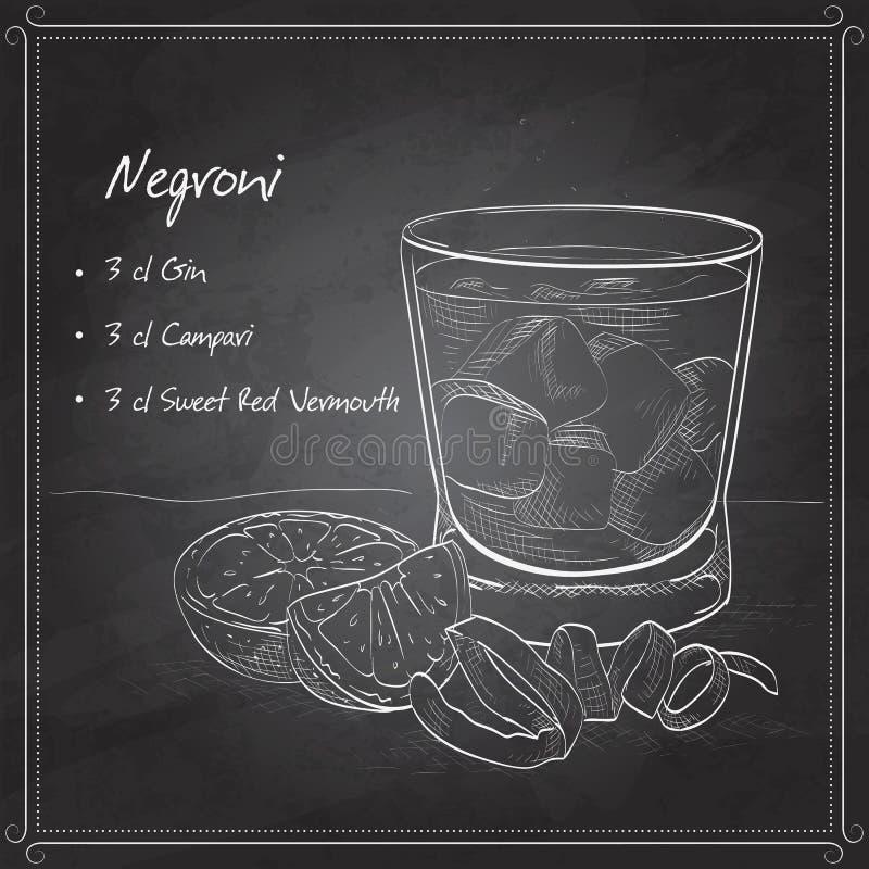 Cóctel alcohólico de Negroni en tablero negro stock de ilustración