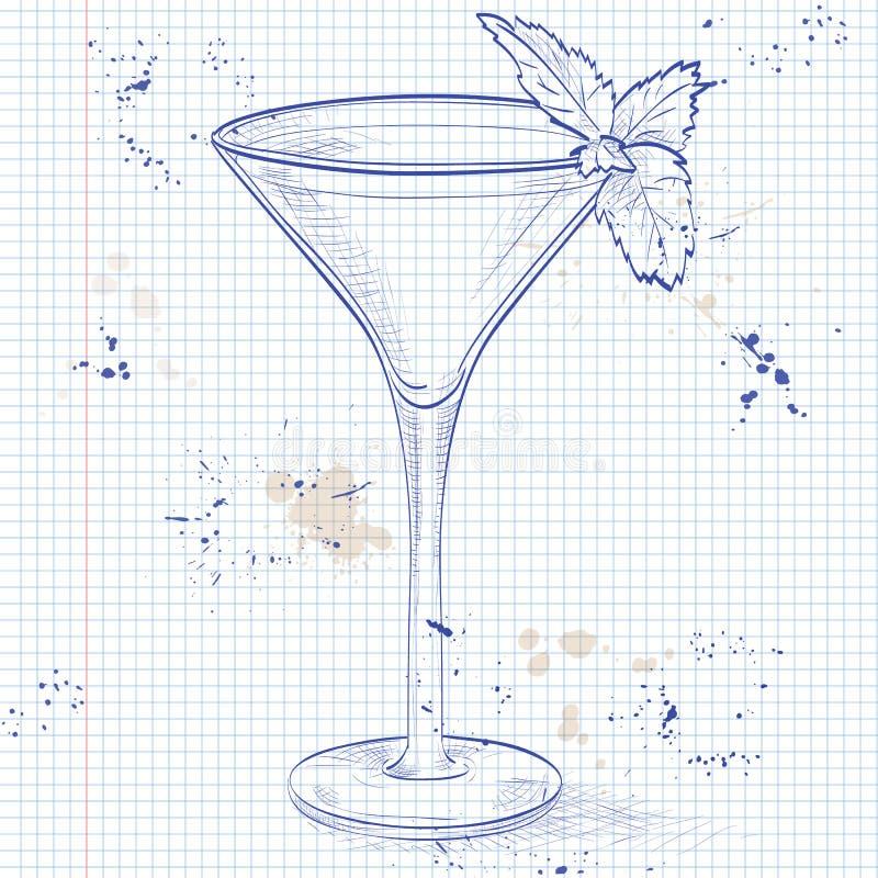 Cóctel alcohólico del saltamontes en una página del cuaderno libre illustration