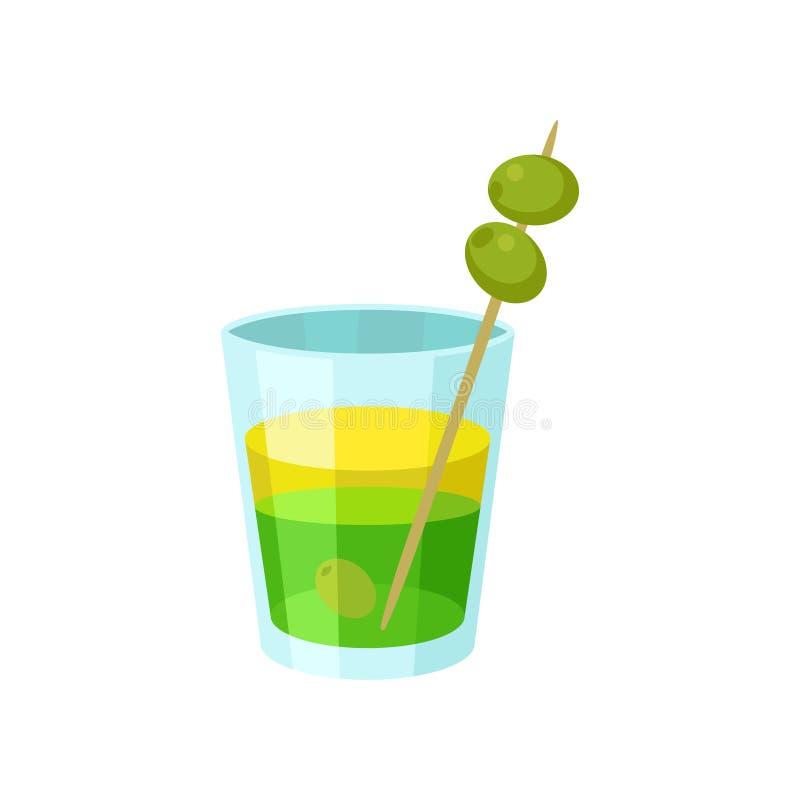Cóctel alcohólico verde y amarillo acodado con el ejemplo del vector de la historieta de las aceitunas libre illustration