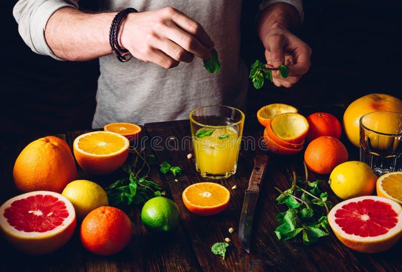 Cóctel de la fruta cítrica con los ingredientes imagen de archivo libre de regalías