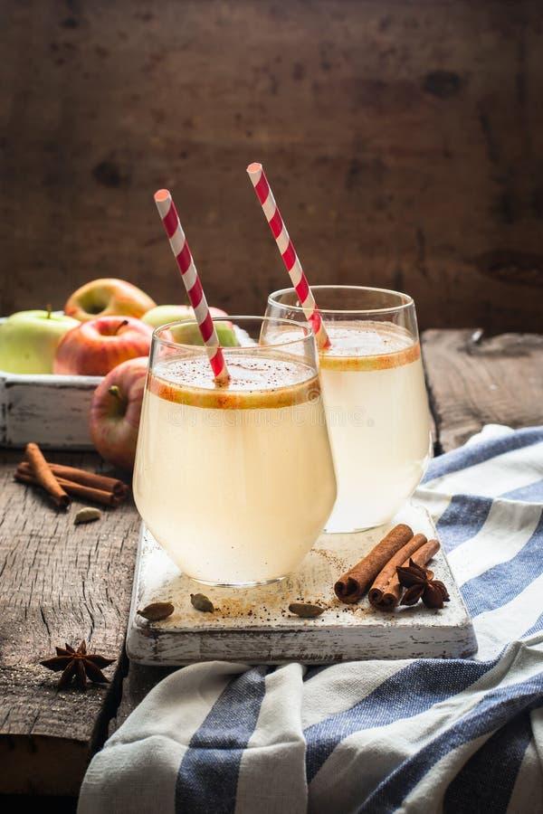 Cóctel de la sidra de manzana del otoño con las especias y las rebanadas de la manzana Foco selectivo fotos de archivo libres de regalías
