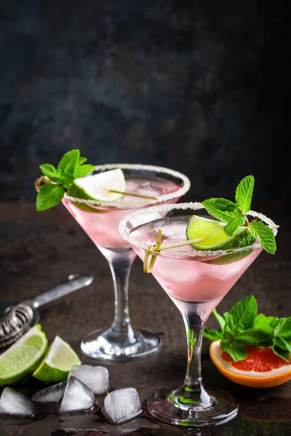 Cóctel de Margarita con el borde salado, el jugo fresco de la cal y de pomelo, la bebida de restauración o la bebida de la fruta  imagen de archivo libre de regalías