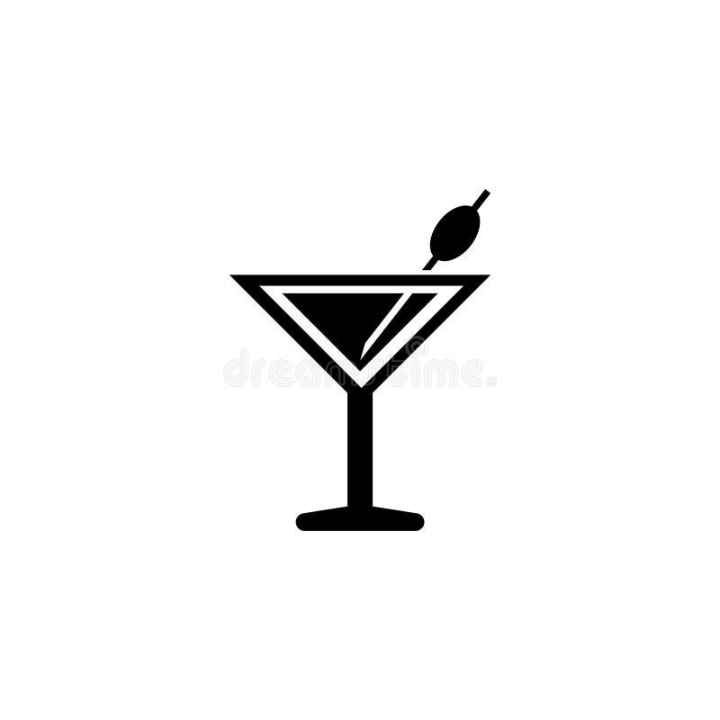 Cóctel de Martini, icono plano del vector de la bebida del licor stock de ilustración