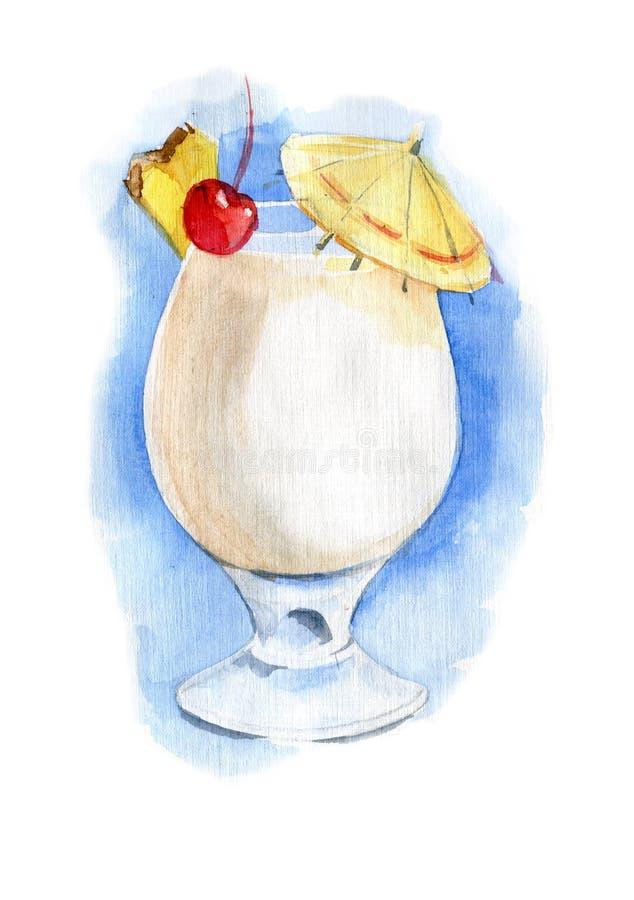 Cóctel de Pina-colada en vidrio Ilustración de la acuarela libre illustration