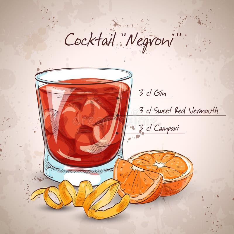Cóctel del alcohólico de Negroni ilustración del vector