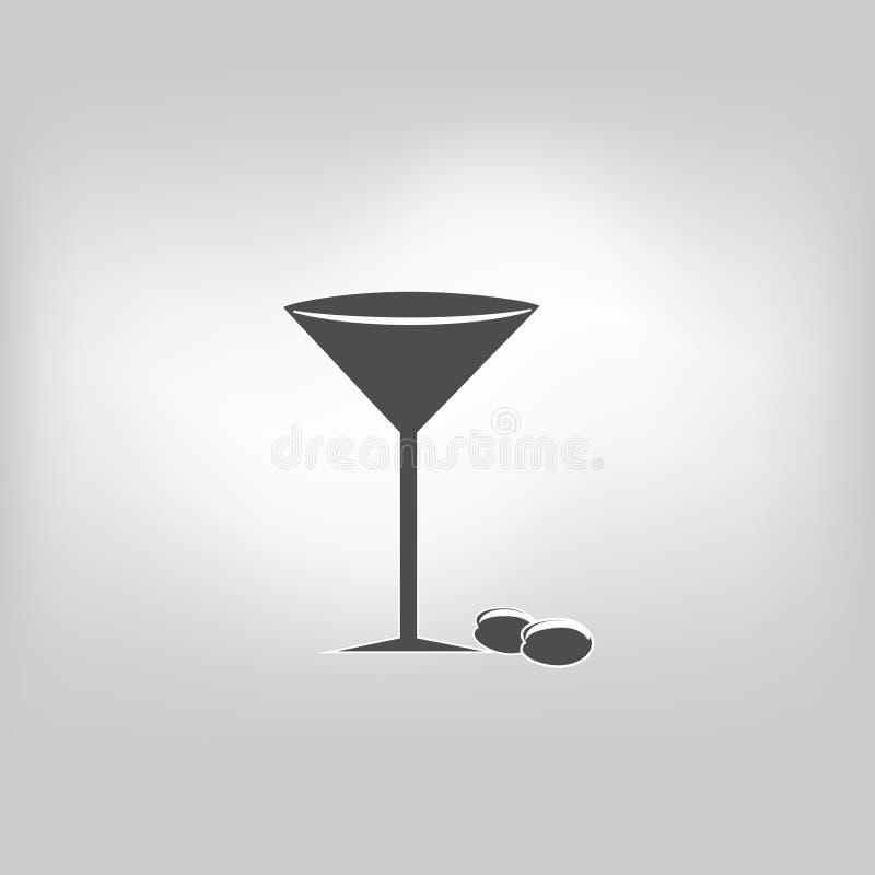 Cóctel del alcohol de martini del icono del vector ilustración del vector