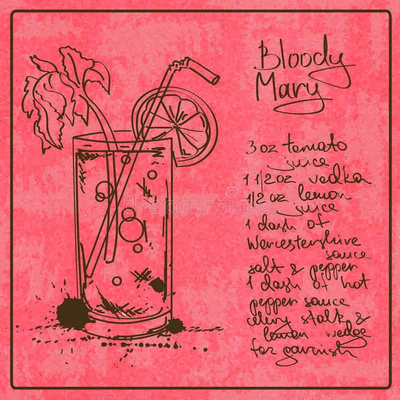 Cóctel dibujado mano del bloody mary libre illustration