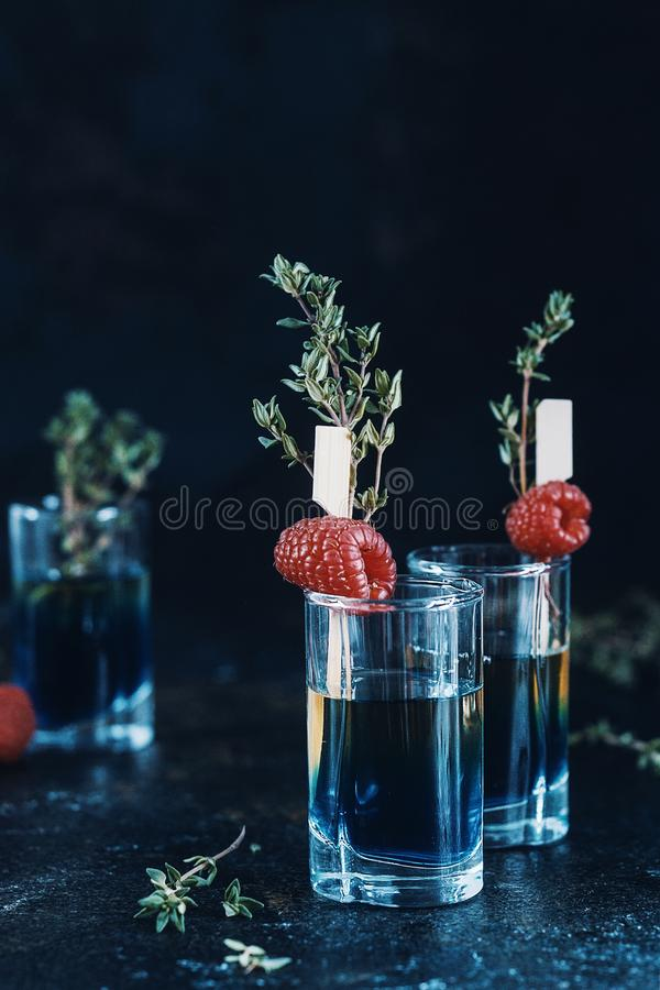 Cóctel fresco de las frambuesas con el jugo, la bebida de restauración o la bebida de la fruta cítrica fría del verano con hielo foto de archivo