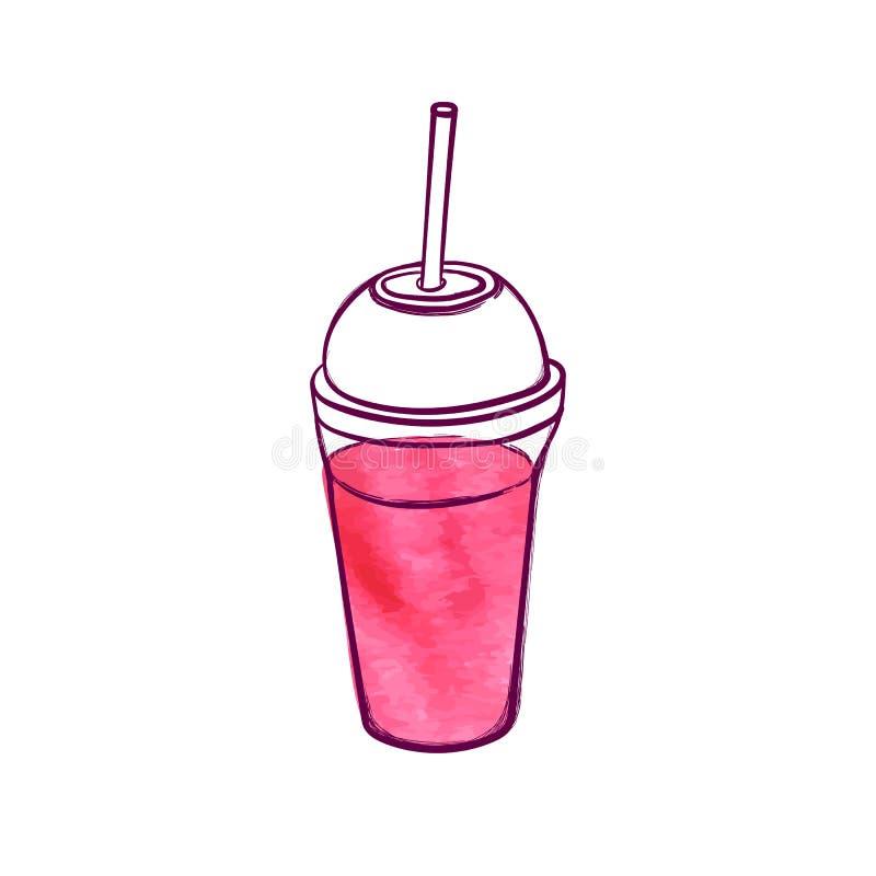 Cóctel fresco rosado exhausto de la mano del vector, ejemplo del Smoothie aislado en el fondo blanco libre illustration