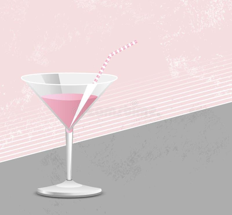 Cóctel rosado stock de ilustración