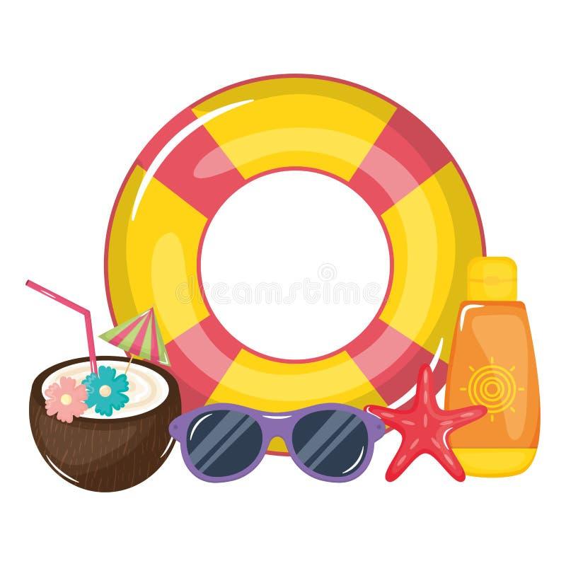 Cóctel tropical del coco con el flotador y los iconos ilustración del vector