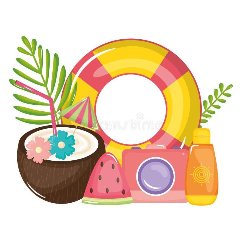 Cóctel tropical del coco con el flotador y los iconos libre illustration