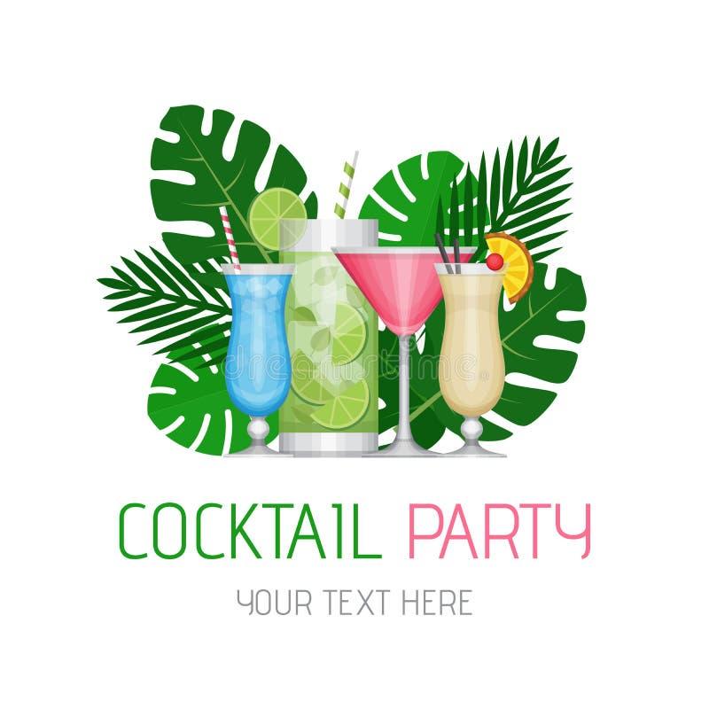 Cóctel tropical del verano con las hojas de palma Cartel del cóctel libre illustration