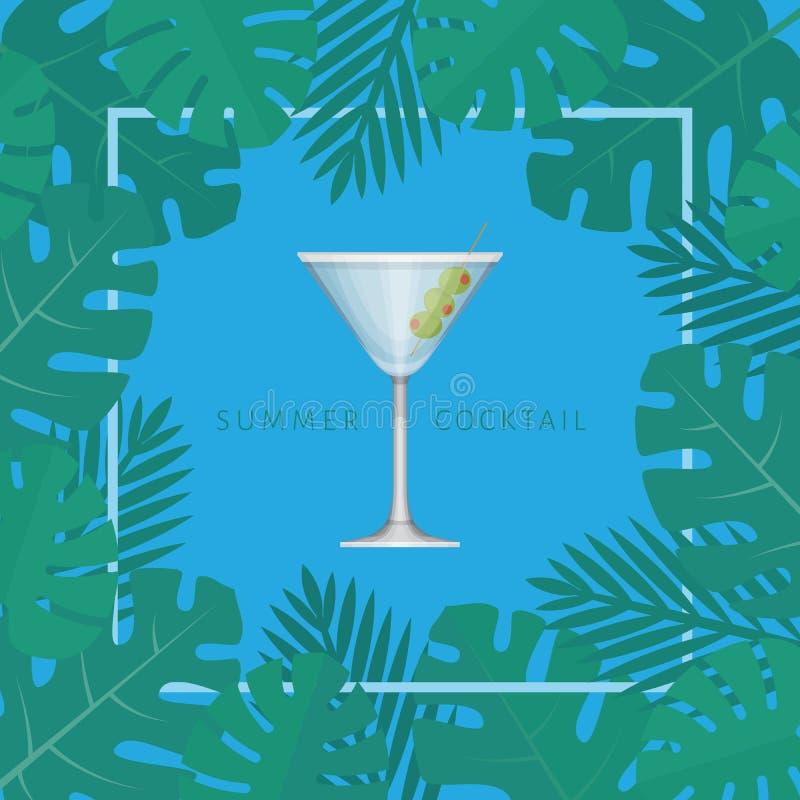 Cóctel tropical del verano con las hojas de palma Cartel del cóctel ilustración del vector
