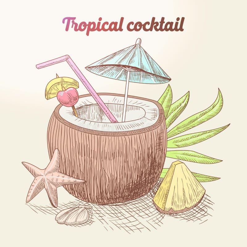Cóctel tropical del vintage del verano con el coco, las frutas y la hoja de palma libre illustration